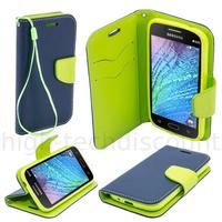 Housse etui coque pochette portefeuille pour Samsung Galaxy J1 + film ecran - BLEU / VERT