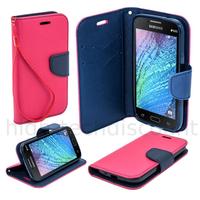 Housse etui coque pochette portefeuille pour Samsung Galaxy J1 + film ecran - ROSE / BLEU