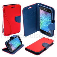 Housse etui coque pochette portefeuille pour Samsung Galaxy J1 + film ecran - ROUGE / BLEU