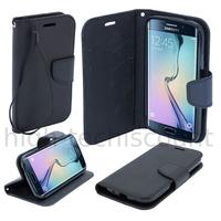 Housse etui coque pochette portefeuille pour Samsung G928F Galaxy S6 Edge Plus + film ecran - NOIR / NOIR