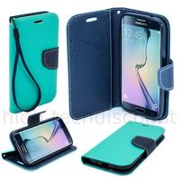 Housse etui coque pochette portefeuille pour Samsung G928F Galaxy S6 Edge Plus + film ecran - BLEU / BLEU