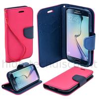 Housse etui coque pochette portefeuille pour Samsung G928F Galaxy S6 Edge Plus + film ecran - ROSE / BLEU
