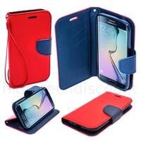 Housse etui coque pochette portefeuille pour Samsung G928F Galaxy S6 Edge Plus + film ecran - ROUGE / BLEU