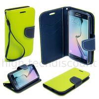 Housse etui coque pochette portefeuille pour Samsung G928F Galaxy S6 Edge Plus + film ecran - VERT / BLEU