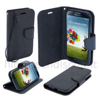 Housse etui coque pochette portefeuille pour Samsung i9600 Galaxy S5 New + film ecran - NOIR / NOIR