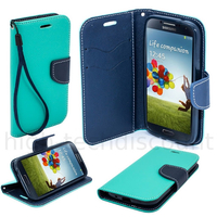 Housse etui coque pochette portefeuille pour Samsung i9600 Galaxy S5 New + film ecran - BLEU / BLEU