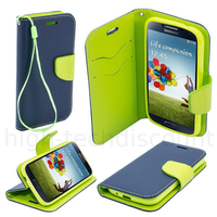 Housse etui coque pochette portefeuille pour Samsung i9600 Galaxy S5 + film ecran - BLEU / VERT