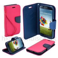 Housse etui coque pochette portefeuille pour Samsung i9600 Galaxy S5 + film ecran - ROSE / BLEU