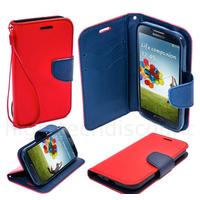 Housse etui coque pochette portefeuille pour Samsung i9600 Galaxy S5 + film ecran - ROUGE / BLEU