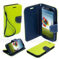 Housse etui coque pochette portefeuille pour Samsung i9600 Galaxy S5 + film ecran - VERT / BLEU