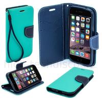 Housse etui coque pochette portefeuille pour Apple iPhone 6S (4.7) + film ecran - BLEU / BLEU