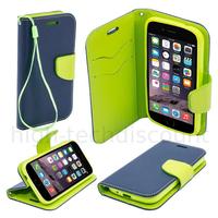Housse etui coque pochette portefeuille pour Apple iPhone 6S (4.7) + film ecran - BLEU / VERT