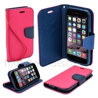 Housse etui coque pochette portefeuille pour Apple iPhone 6S (4.7) + film ecran - ROSE / BLEU