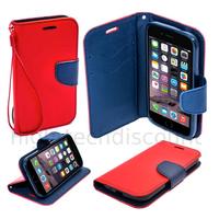 Housse etui coque pochette portefeuille pour Apple iPhone 6S (4.7) + film ecran - ROUGE / BLEU