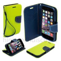 Housse etui coque pochette portefeuille pour Apple iPhone 6S (4.7) + film ecran - VERT / BLEU