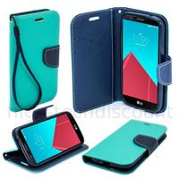 Housse etui coque pochette portefeuille pour LG Leon 4G LTE  + film ecran - BLEU / BLEU