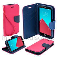 Housse etui coque pochette portefeuille pour LG G4 + film ecran - ROSE / BLEU