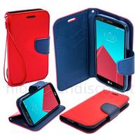 Housse etui coque pochette portefeuille pour LG Leon 4G LTE  + film ecran - ROUGE / BLEU