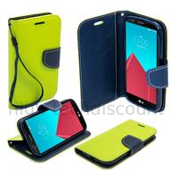 Housse etui coque pochette portefeuille pour LG Leon 4G LTE  + film ecran - VERT / BLEU