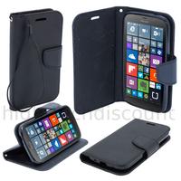 Housse etui coque pochette portefeuille pour Nokia Lumia 630 / 635 + film ecran - NOIR / NOIR