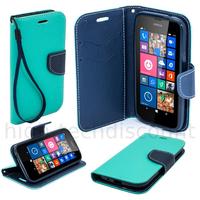 Housse etui coque pochette portefeuille pour Nokia Lumia 630 / 635 + film ecran - BLEU / BLEU