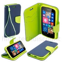 Housse etui coque pochette portefeuille pour Nokia Lumia 630 / 635 + film ecran - BLEU / VERT