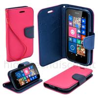Housse etui coque pochette portefeuille pour Nokia Lumia 630 / 635 + film ecran - ROSE / BLEU
