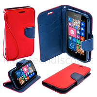 Housse etui coque pochette portefeuille pour Nokia Lumia 630 / 635 + film ecran - ROUGE / BLEU