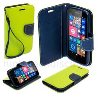 Housse etui coque pochette portefeuille pour Nokia Lumia 630 / 635 + film ecran - VERT / BLEU