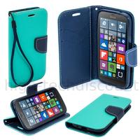 Housse etui coque pochette portefeuille pour Microsoft Lumia 950 + film ecran - BLEU / BLEU