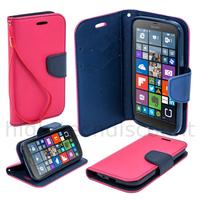 Housse etui coque pochette portefeuille pour Microsoft Lumia 950 + film ecran - ROSE / BLEU