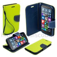 Housse etui coque pochette portefeuille pour Microsoft Lumia 550 + film ecran - VERT / BLEU