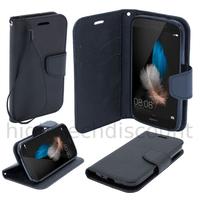 Housse etui coque pochette portefeuille pour Huawei Ascend P8 Lite + film ecran - NOIR / NOIR