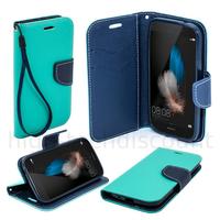 Housse etui coque pochette portefeuille pour Huawei Ascend P8 Lite + film ecran - BLEU / BLEU