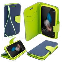 Housse etui coque pochette portefeuille pour Huawei Ascend P8 Lite + film ecran - BLEU / VERT