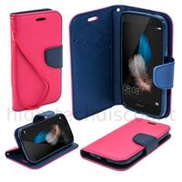 Housse etui coque pochette portefeuille pour Huawei Ascend P8 Lite + film ecran - ROSE / BLEU