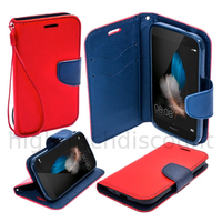 Housse etui coque pochette portefeuille pour Huawei Ascend P8 Lite + film ecran - ROUGE / BLEU