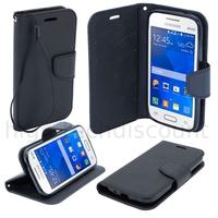 Housse etui coque pochette portefeuille pour Samsung G318H Galaxy Trend 2 Lite + film ecran - NOIR / NOIR