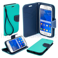 Housse etui coque pochette portefeuille pour Samsung G318H Galaxy Trend 2 Lite + film ecran - BLEU / BLEU