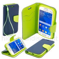 Housse etui coque pochette portefeuille pour Samsung G318H Galaxy Trend 2 Lite + film ecran - BLEU / VERT