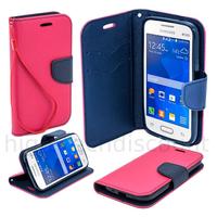 Housse etui coque pochette portefeuille pour Samsung G318H Galaxy Trend 2 Lite + film ecran - ROSE / BLEU