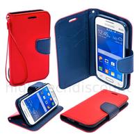 Housse etui coque pochette portefeuille pour Samsung G318H Galaxy Trend 2 Lite + film ecran - ROUGE / BLEU