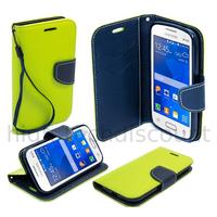 Housse etui coque pochette portefeuille pour Samsung G318H Galaxy Trend 2 Lite + film ecran - VERT / BLEU