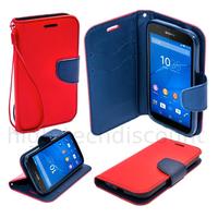 Housse etui coque pochette portefeuille pour Sony Xperia C4 + film ecran - ROUGE / BLEU