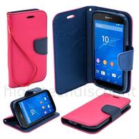 Housse etui coque pochette portefeuille pour Sony Xperia E4G + film ecran - ROSE / BLEU