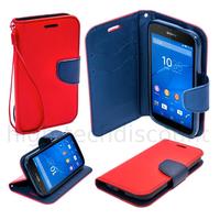 Housse etui coque pochette portefeuille pour Sony Xperia E4G + film ecran - ROUGE / BLEU