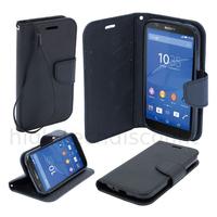 Housse etui coque pochette portefeuille pour Sony Xperia Z5 + film ecran - NOIR / NOIR