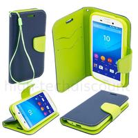 Housse etui coque pochette portefeuille pour Sony Xperia M4 Aqua + film ecran - BLEU / VERT