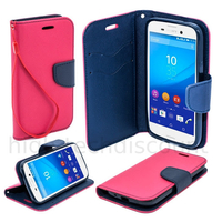 Housse etui coque pochette portefeuille pour Sony Xperia M4 Aqua + film ecran - ROSE / BLEU