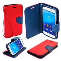 Housse etui coque pochette portefeuille pour Sony Xperia M4 Aqua + film ecran - ROUGE / BLEU